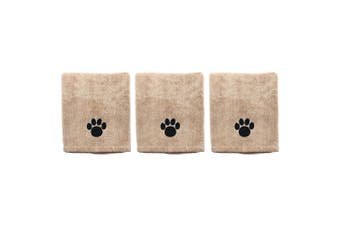 3x Paws & Claws 60x90cm Microfiber Drying Soft Towel Dogs/Cats/Pets Grooming BRN