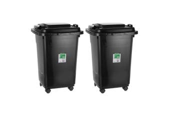 2x Box Sweden EcoStorage 50L 57cm Heavy Duty Wheelie Waste/Rubbish/Food Bin BLK