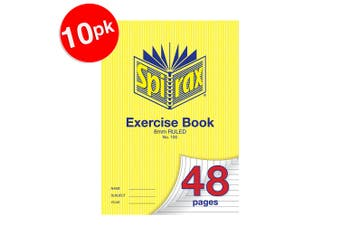 10x Spirax 70 GSM 48 Pages A4 8mm Ruled No.100 Exercise Book School Notebook