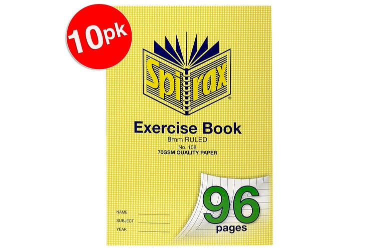 10x Spirax 70GSM 96 Pages A4 8mm Ruled No.108 Exercise Book School Notebook