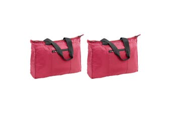 2x Go Travel 28L Lightweight/Foldable Flight Cabin Tote Bag Compact Luggage Red