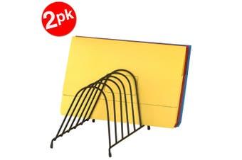 2PK Marbig Wire Angled Desk Paper/Folder Holder/Rack 6 Slot Organiser for Office