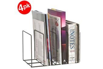 4PK Marbig Wire Book/Magazine Rack Holder 4 Slot Desk Organiser for Office/Home