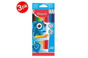 3x 12pc Maped Pulse Ergo Color Peps Kids 0% Wood Triangular Colouring Pencils
