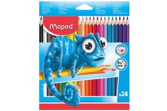 24pc Maped Pulse Ergo Color Peps Kids 0% Wood Triangular Drawing/Colour Pencils