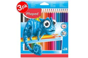 3x 24pc Maped Pulse Ergo Color Peps Kids 0% Wood Triangular Colouring Pencils