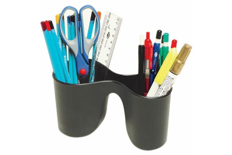 2PK Marbig Enviro Duo Double Pencil Cup Pen Holder/Storage for School/Office BLK