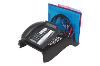 Marbig Telephone Stand/Riser w/Paper/Stationery Caddy/Holder Desk Organiser BLK