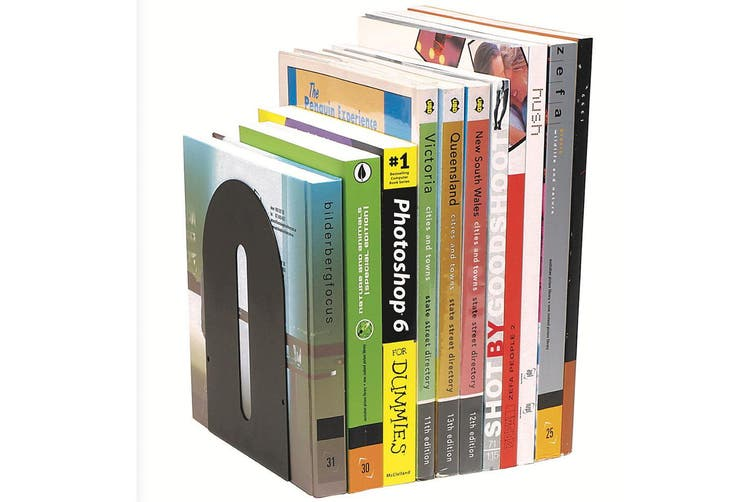 2PK Marbig Rounded Book Ends Holder Heavy Duty Metal For Shelves/Shelf Black