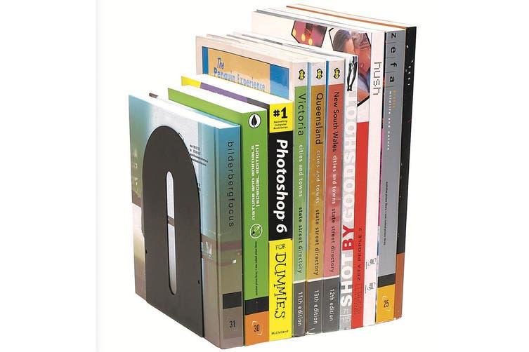 4PK Marbig Rounded Book Ends Holder Heavy Duty Metal For Shelves/Shelf Black