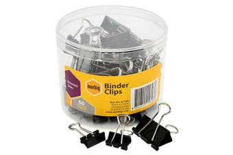 60PC Marbig Paper Fold Back/Binder Clips Assort. Sizes Office/Home Use/Essential