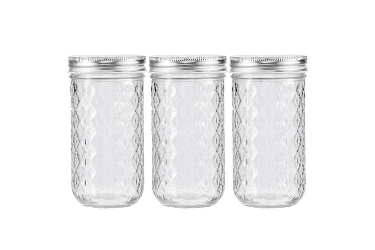 3PK Lemon & Lime 350ml Quilted Glass Conserve Canister Jar Food Storage Clear