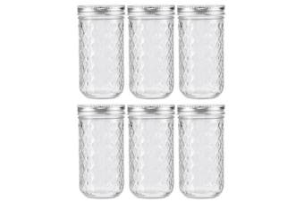 6PK Lemon & Lime 350ml Quilted Glass Conserve Canister Jar Food Storage Clear