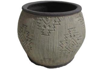 Tribal Potplanter Earth Tones 18x4cm Home Decor Garden Flower Pot Plant Grey