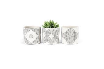 3pc Bricka 14x13cm Pot Planters w/ Hole & Plug Decor Light Grey/White Assorted
