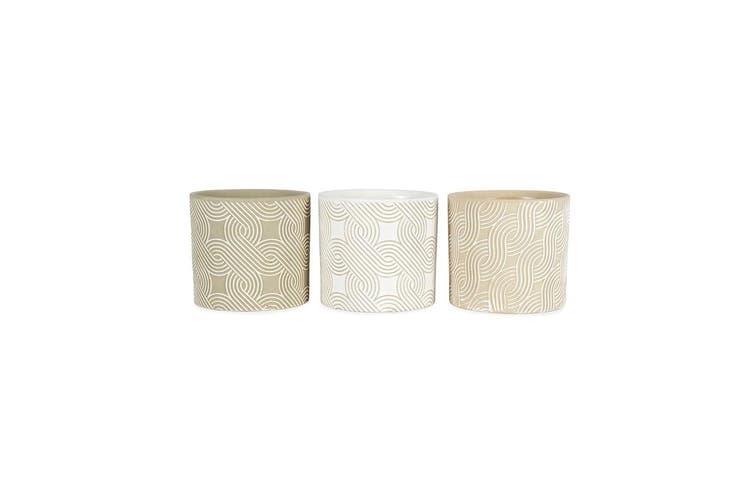 3pc Geometric Taupe Swirl 14x13cm Pot Planters w/ Hole & Plug Home Decor Assort.