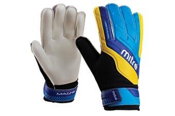 Mitre Magnetite Jnr Soccer/Football Goalie Goalkeeper Gloves Pair Size 4 Cyan