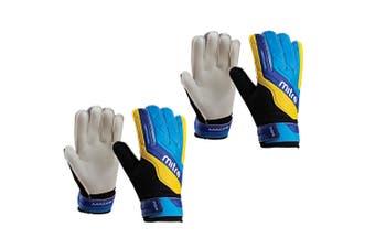 2x Mitre Magnetite Jnr Soccer/Football Goalie Goalkeeper Gloves Pair Size 4 Cyan