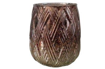 Metallic 12x14cm Tealight Glass Candle Holder/Decor Storage Home Decoration BR