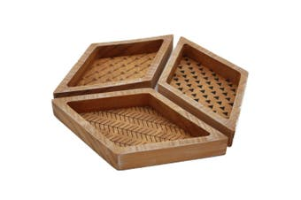 3pc Timber Decorative 3-Part Serving Trays 22x26x2.5cm Home Decor Wood Brown