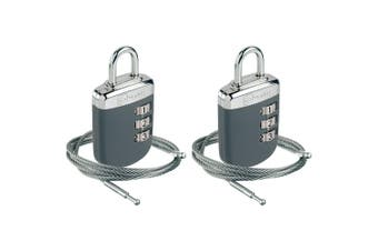2x Go Travel Link Lock Combination Padlock with Cable Suitcase/Luggage Lock Grey