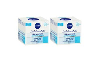 2x Nivea Daily Essentials Facial Primer Normal Skin 50ml Gel Cream Moisturiser