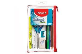 10pc Maped Transparent Pencil Case Stationery Set Pens/Ruler/Sharpener School