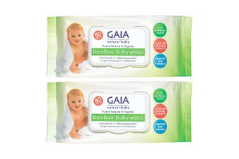 Gaia 160PK Natural/Pure/Organic Bamboo Baby/Kid Wipes Lightly Scent/Free Alcohol