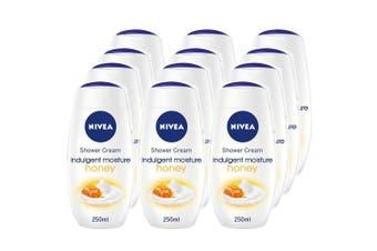 12x Nivea 250ml Shower Creme Indulgent Moisture Honey Body Skin Moisturising