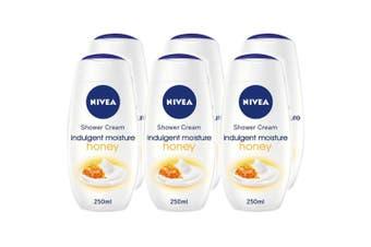 6x Nivea 250ml Shower Creme Indulgent Moisture Honey Body Skin Care Moisturising