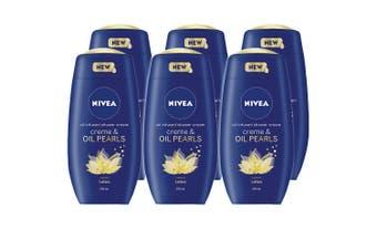 6x Nivea 250ml Shower Creme & Oil Infused Pearls Lotus f/Body Skin Moisturising