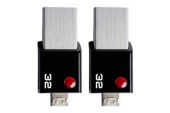 2PK EMTEC Mobile & Go USB 3.0 2-in-1 32GB OTG Flash Drive File Storage BLK/Steel