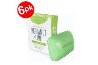 6x Schmidt's Bergamot /Lime Exfoliating Face/Body Natural Soap Bar w/Orange Peel