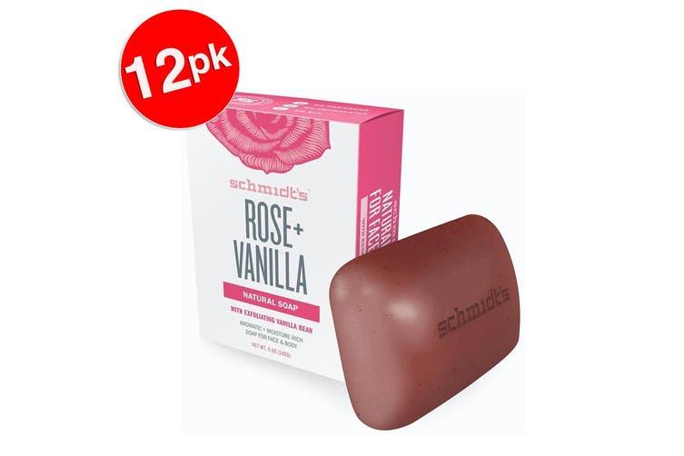 12x Schmidt's Rose/Vanilla Exfoliating Face/Body Natural Soap Bar w/Vanilla Bean