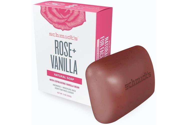 6x Schmidt's Rose/ Vanilla Exfoliating Face/Body Natural Soap Bar w/Vanilla Bean