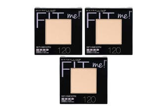 3x Maybelline 9g Fit Me Women Setting Smooth Powder All Skin 120 Classic Ivory