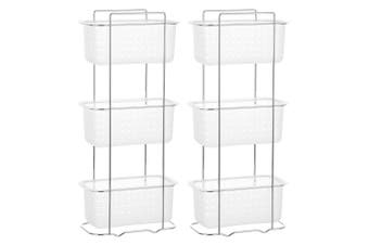 2x BoxSweden 3 Tier Bathroom Rack Standing Storage Organiser Stand Frosted Clear
