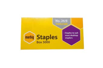 Marbig Staples 26/6 Box 5000 for Staplers/Papers Office/Home Use/Essentials