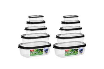 10PK Lemon & Lime 220/430/800ml/1.7/2.6L Food Box Storage Container Set Assorted