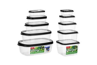 10PK Lemon & Lime Rectangle & Square Food Box Storage Container Sets Assorted