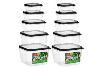 10PK Lemon &Lime 330/630ml/1.9/1.15/2.8L Food Box Storage Container Set Assorted