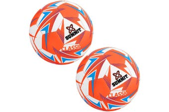 2x Summit Global Classic Size 5 Soccer Ball/Football Orange Sport Indoor/Outdoor