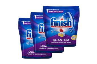 3x Finish 60 Tabs Powerball Quantum Lemon Sparkle Dishwashing/Dishwasher Tablet