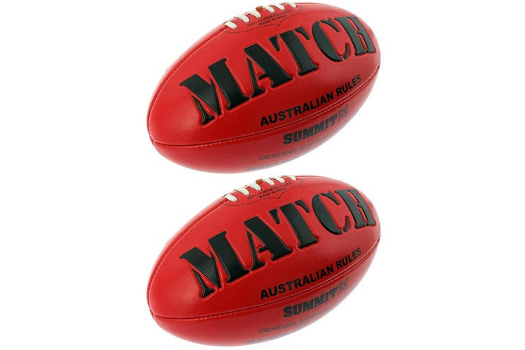 2PK   Match AFL Ball Embossed Red Australian Rules Football Game