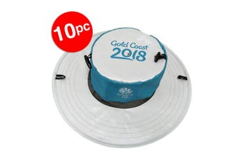 10x Gold Coast Sun Hat Comm Games/Men/Women Sport Cap/Pocket Foldable Pop-up