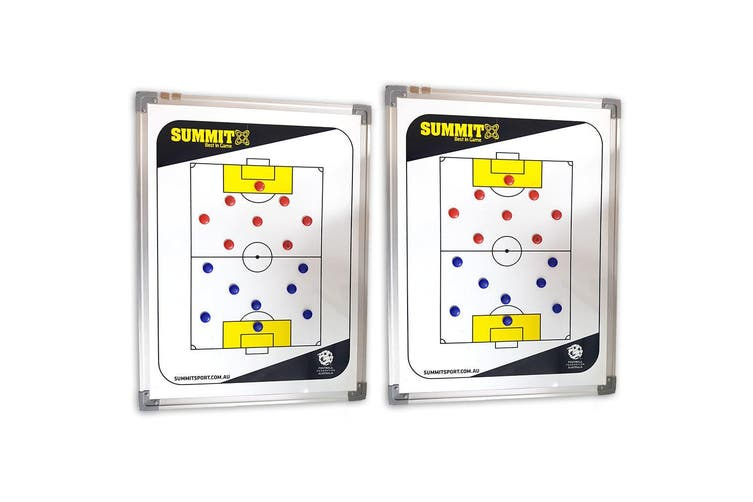 2x Summit FFA Coaching Board 60cm w/ Magnets/Reversible f/ Soccer/Game Planner