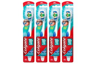 4PK Colgate 360° Clean Soft Bristles Toothbrush w/Cheek/Tongue Cleaner Assorted