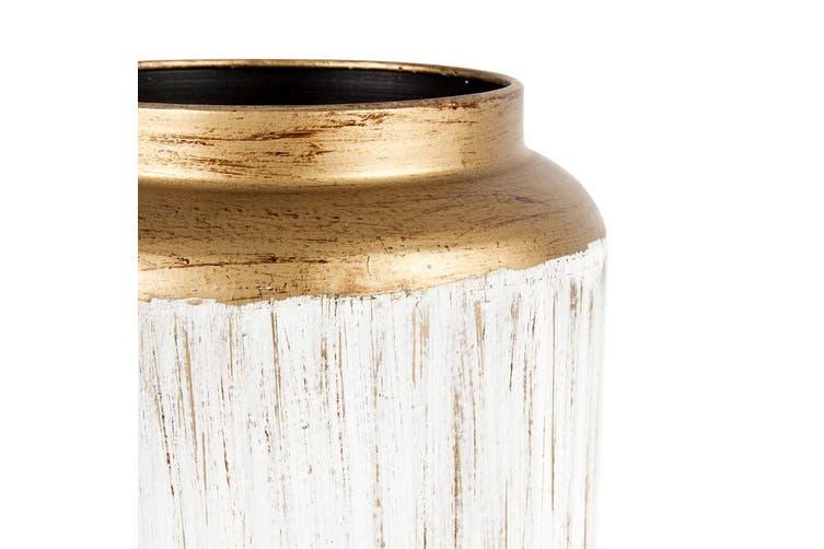 Lustre Decorative 19x22cm Vase Home Decor Plant/Flower Container Brushed WHT/GD