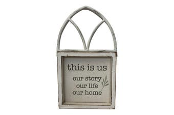 This Is Us Wood Arched 21x35cm Decor Table Plaque Display Home Decoration White