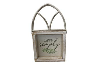Live Simply Wood Arched 16x26cm Decor Table Plaque Display Home Decoration White